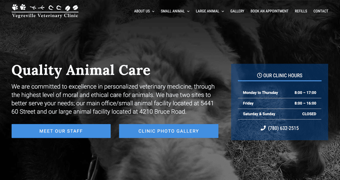 Vegreville Veterinary Clinic Website